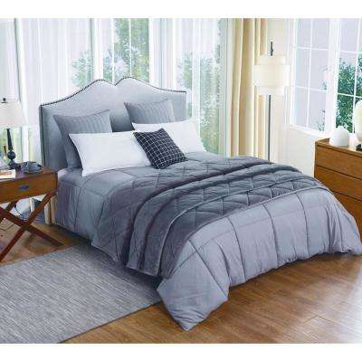 Microfiber Full/Queen Dark Gray Comforter and Velvet Blanket Set