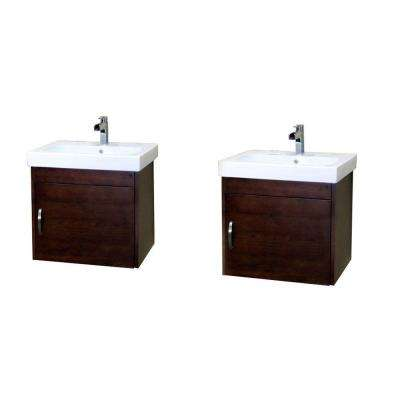 Randstad D 49 in. W Double Vanity in Walnut with Porcelain Vanity Top in White