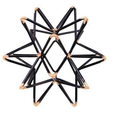 Star shaped Iron Wire Decor Intersecting with Accented Joints in Black and Gold