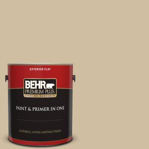 Behr Premium Plus 1 Gal S320 3 Final Straw Flat Exterior Paint And Primer In One 440001 The Home Depot