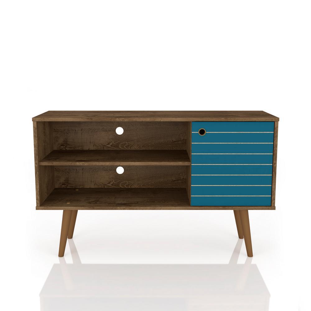 Manhattan Comfort Liberty 42.52 in. Rustic Brown and Aqua Blue 2-Shelf
