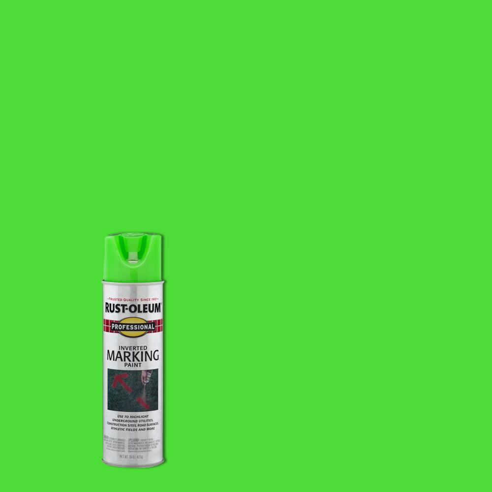 Rust-Oleum Professional 15 oz  Fluorescent Green Inverted Marking Spray  Paint