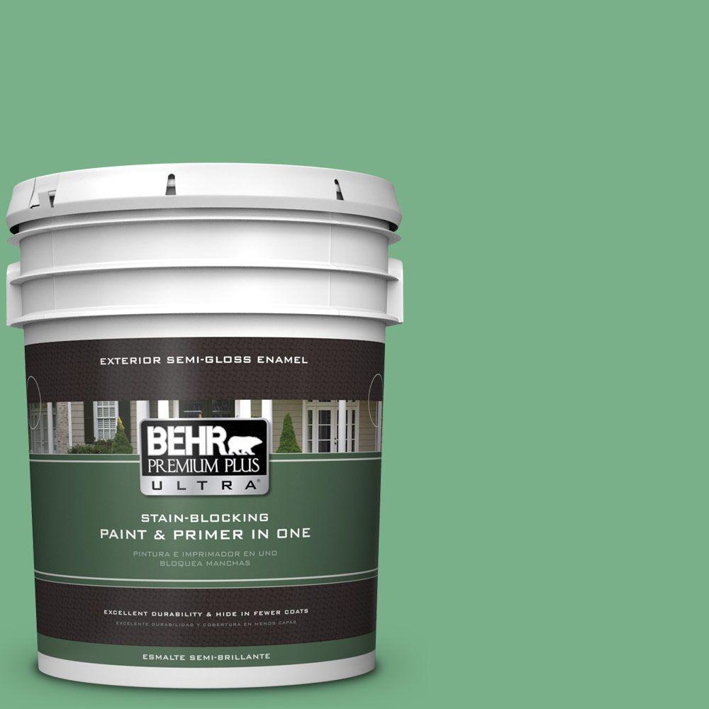 BEHR Premium Plus Ultra 5-gal. #M410-5 Green Bank Semi-Gloss Enamel Exterior Paint