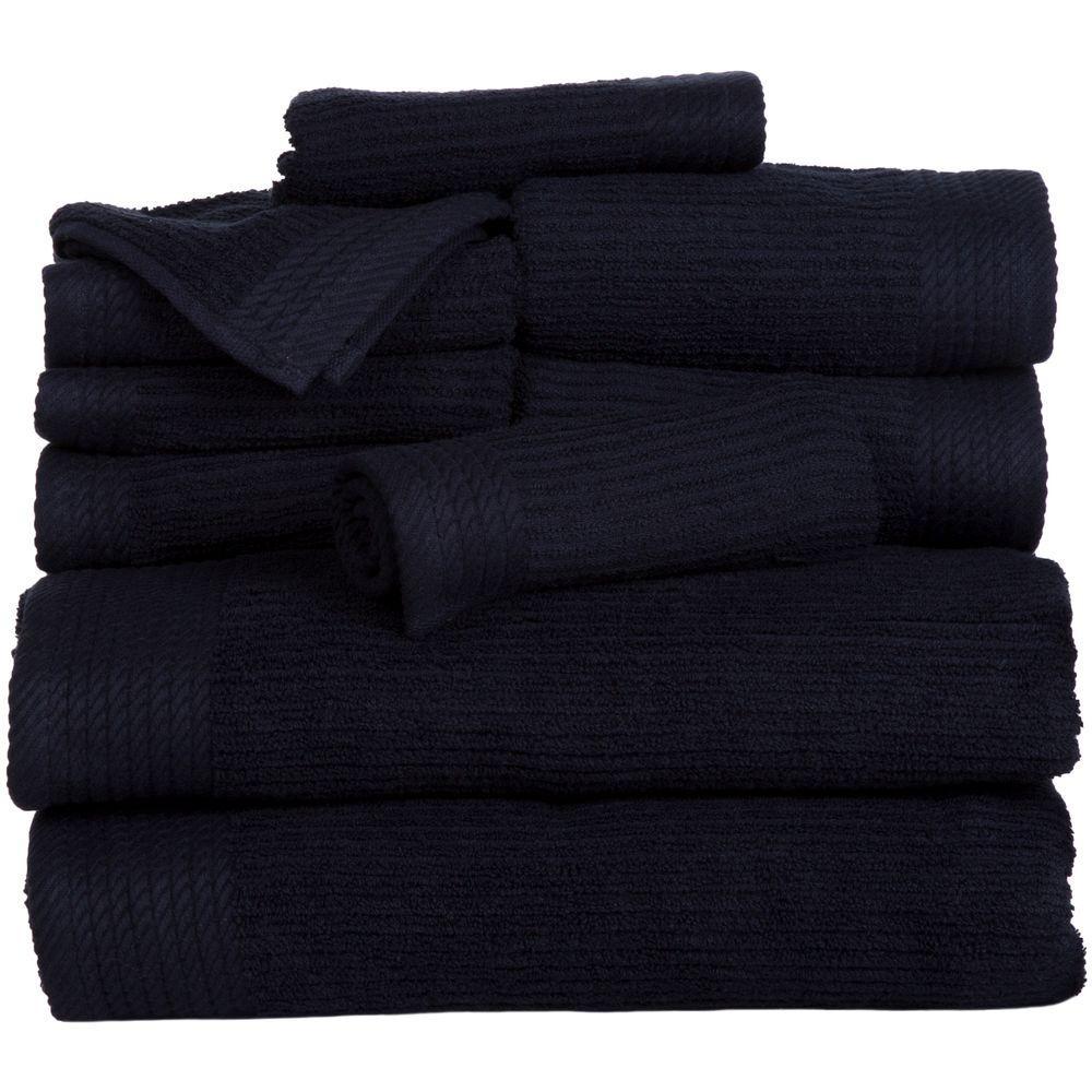 Lavish Home Ribbed Egyptian Cotton Towel Set in Black (10-Piece) 67-0021-BL
