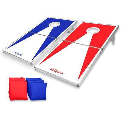 4 ft. X 2 ft. Red and Blue Edition Cornhole PRO Regulation Size Bean Bag Toss Game Set