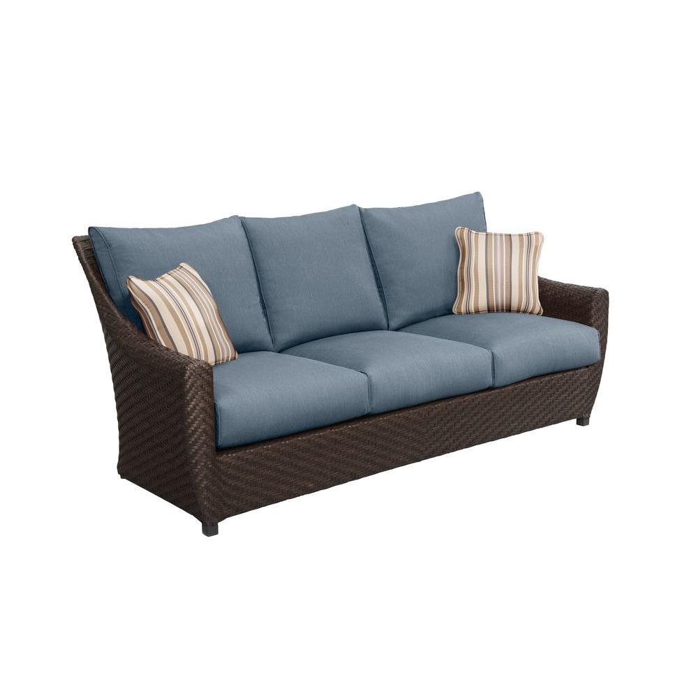 Highland Patio Sofa with Denim Cushions and Terrace Lane Throw Pillows