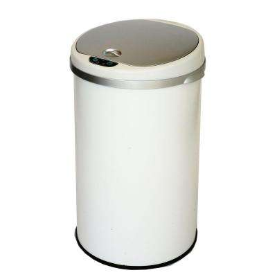 8 Gal. Matte Pearl White Touchless Round Motion Sensing Trash Can with Deodorizing Carbon Filter Technology