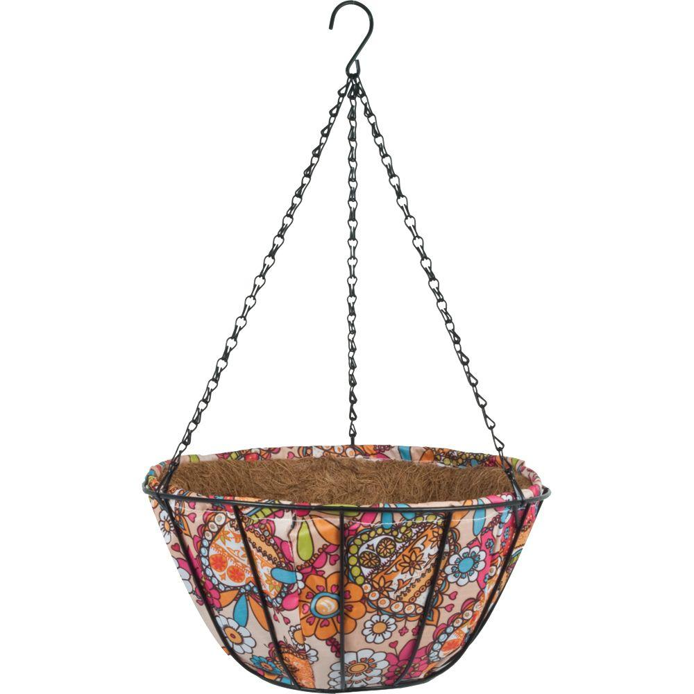 Pride Garden Products 14 in. Garden Party Retro Paisley Coco Fabric Basket (2-Pack)