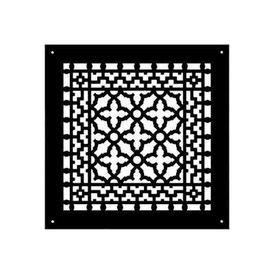 Scroll Series 10 in. x 10 in. Cast Iron Grille, Black with Mounting Holes