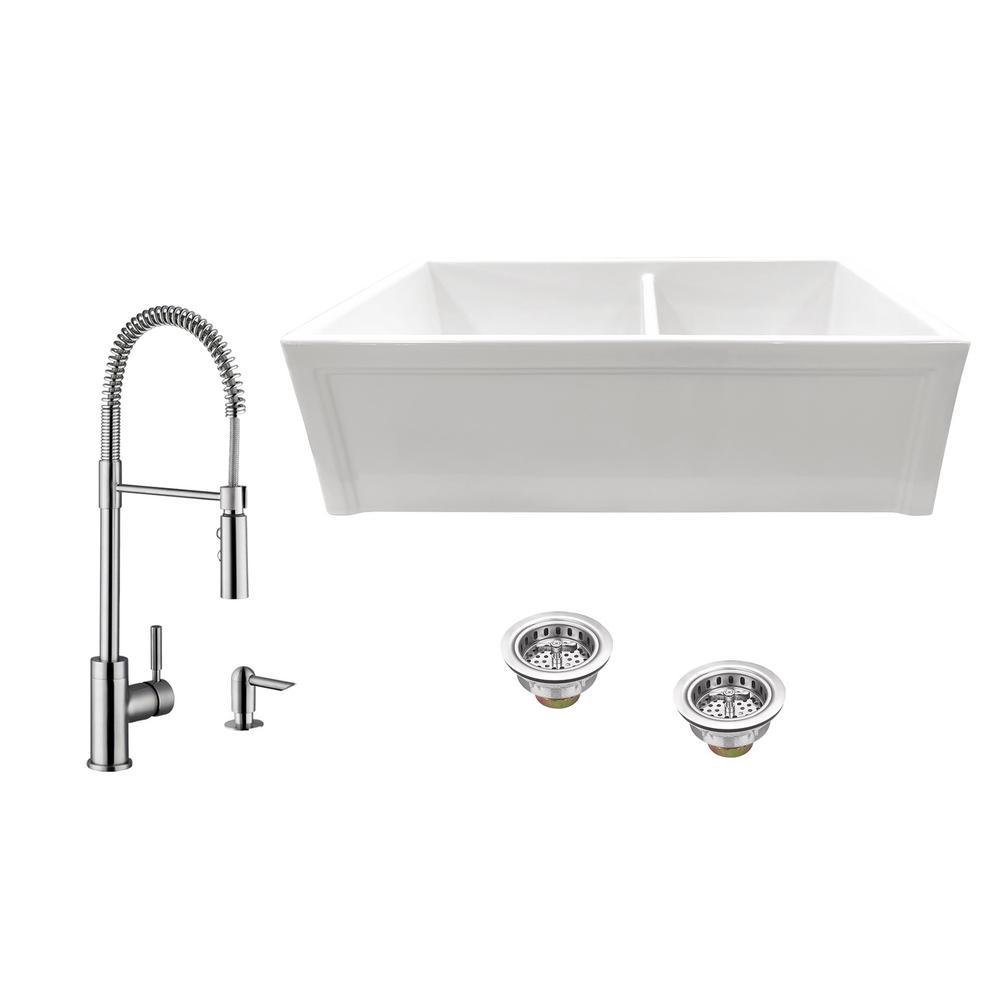 Apron Kitchen Sinks: KOHLER Whitehaven Undermount Apron-Front Cast Iron 36 In