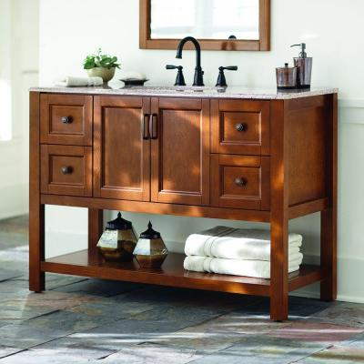 Catalina 49 in. W Vanity in Amber with Stone Effects Vanity Top in Sienna with White Sink