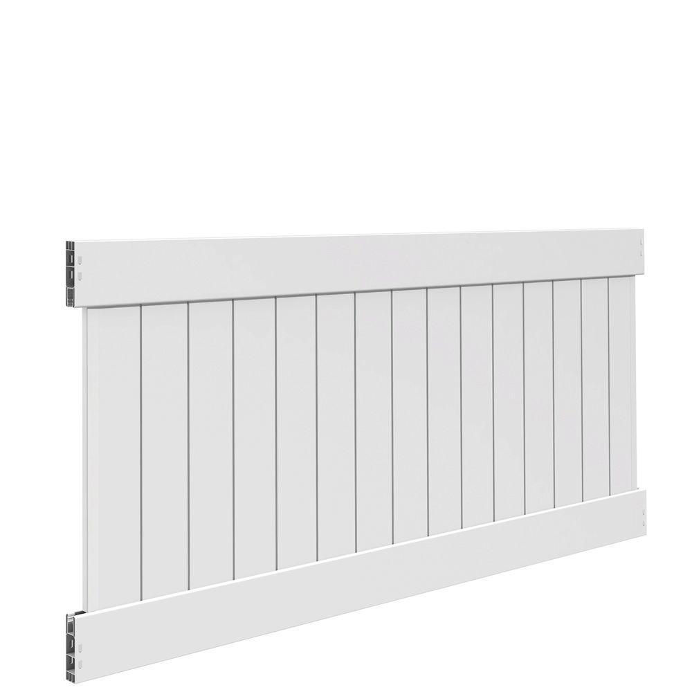 Linden 4 ft. H x 8 ft. W White Vinyl Un-Assembled Fence Panel