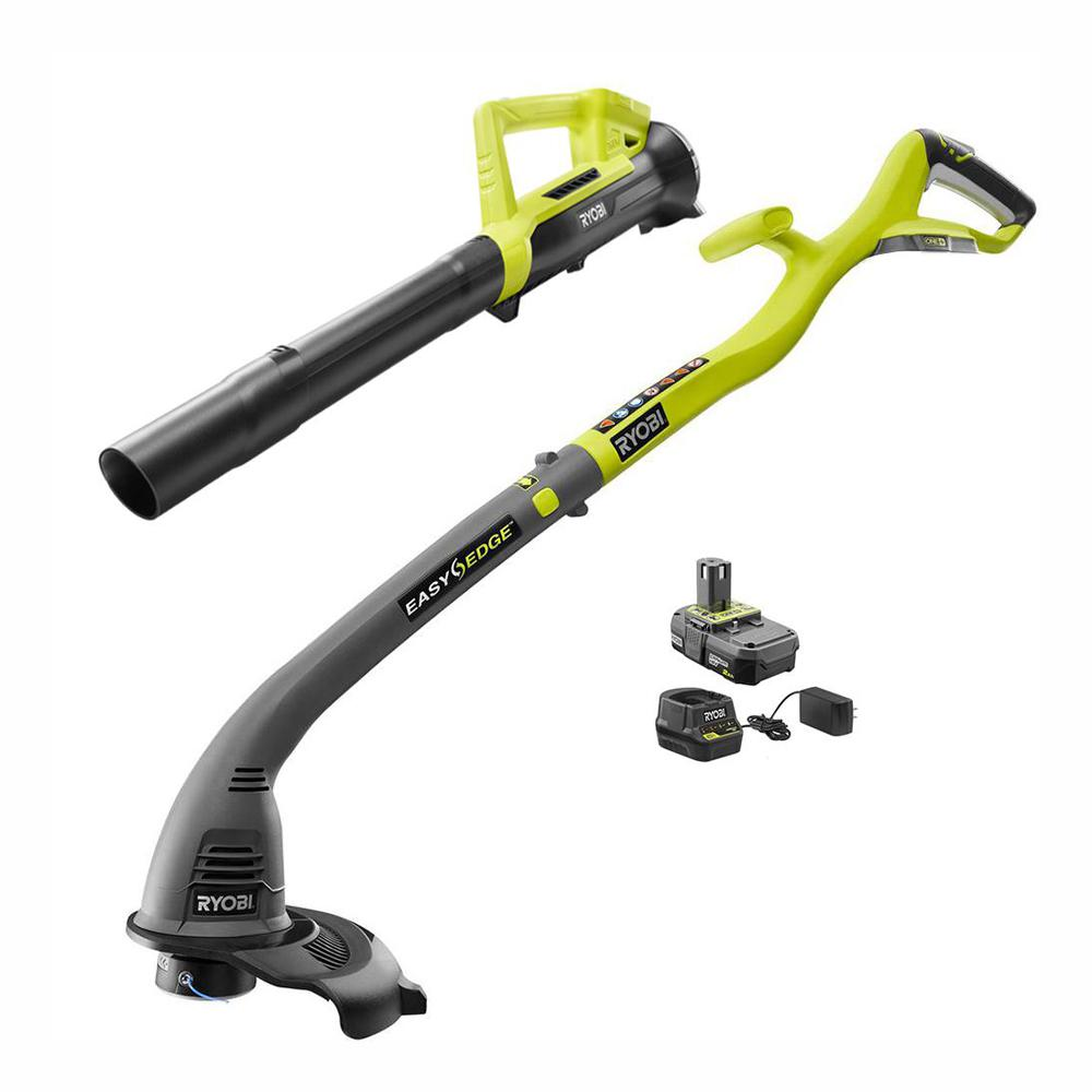 RYOBI RYOBI ONE+ 18-Volt Lithium-Ion String Trimmer/Edger and Blower Combo Kit 2.0 Ah Battery and Charger Included