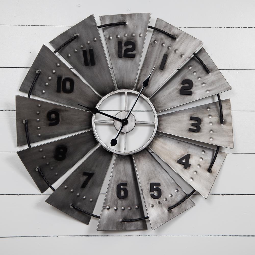 Windmill Galvanized Metal Silver Wall Clock