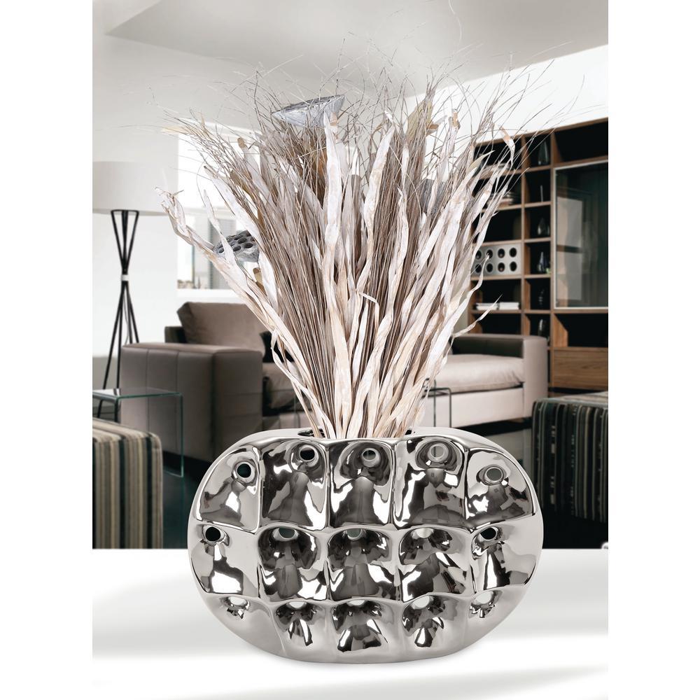11 In. Ceramic Geometric-Molded Decorative Vase In Silver