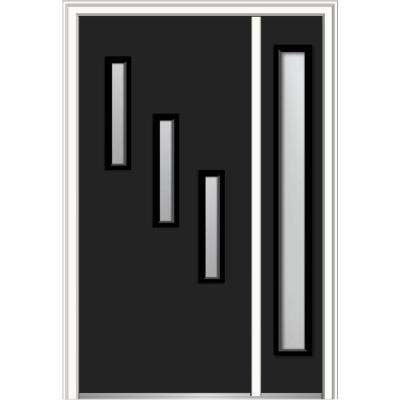 51 in. x 81.75 in. Davina Frosted Glass Right-Hand Inswing 3-Lite Modern Painted Steel Prehung Front Door with Sidelite