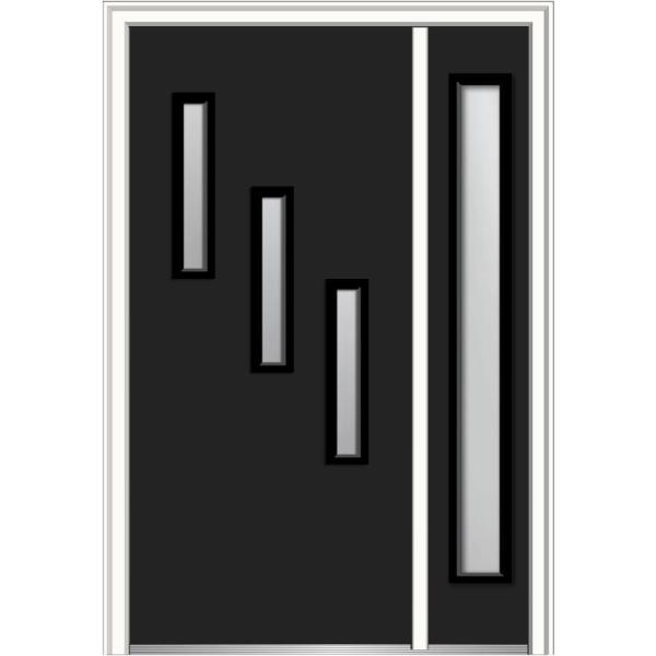 Mmi Door 51 In X 81 75 In Davina Clear Low E Glass Right Hand 3 Lite Modern Painted Steel Prehung Front Door With Sidelite Z0354854r The Home Depot