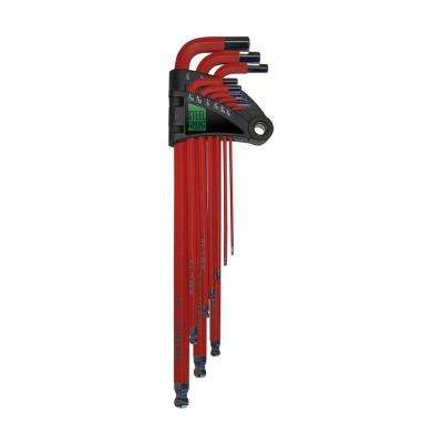 Extra Long SAE Ball Point Red Hex Key Wrench (9-Piece)