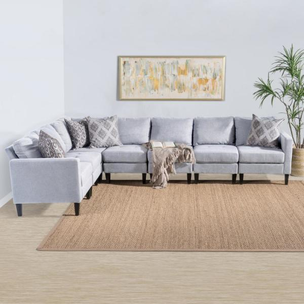 Light Gray Tufted Fabric Sectional