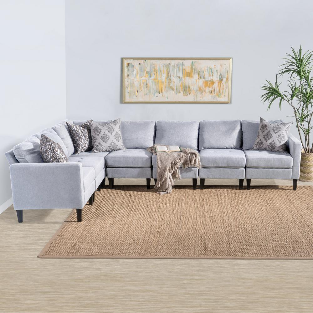 noble house 7 piece light gray tufted fabric sectional 300559 the home depot. Black Bedroom Furniture Sets. Home Design Ideas