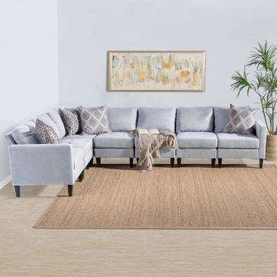 7-Piece Light Gray Tufted Fabric Sectional