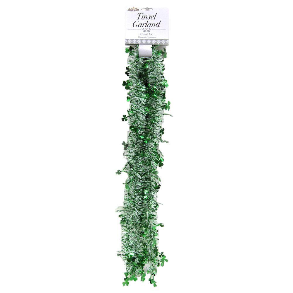 9 ft. St. Patrick Clover Garland Green/White (Set of 4)