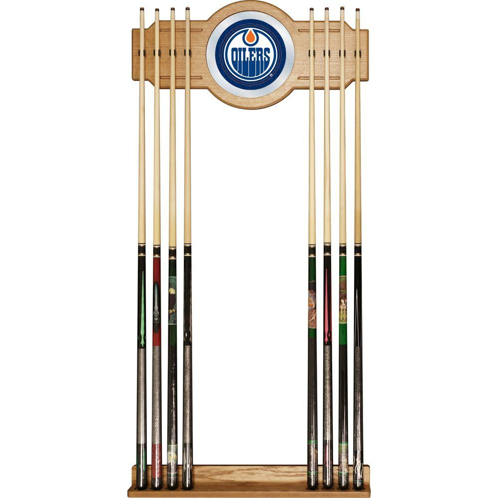Trademark NHL Edmonton Oilers 30 in. Wooden Billiard Cue Rack with Mirror