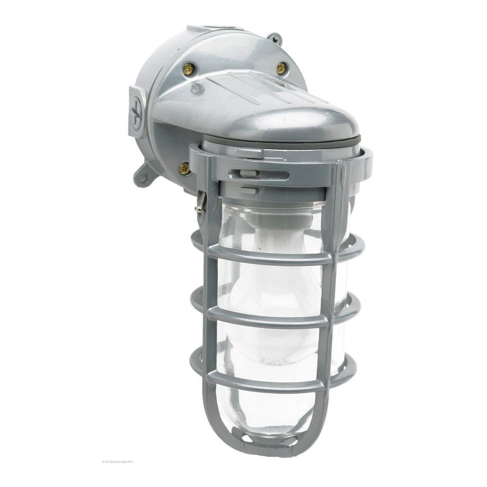 Industrial 1-Light Gray Outdoor Weather Tight Flushmount Wall Light Fixture