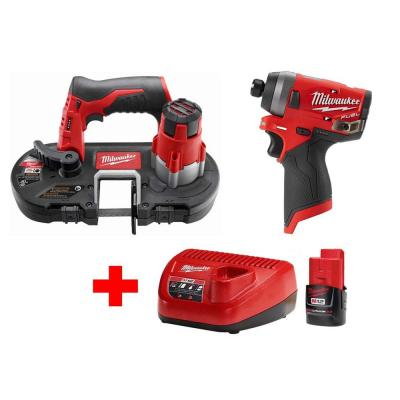 M12 FUEL 12-Volt Lithium-Ion Brushless Cordless 1/4 in. Hex Impact Driver/Bandsaw Combo Kit W/(1)2.0Ah Battery & Charger