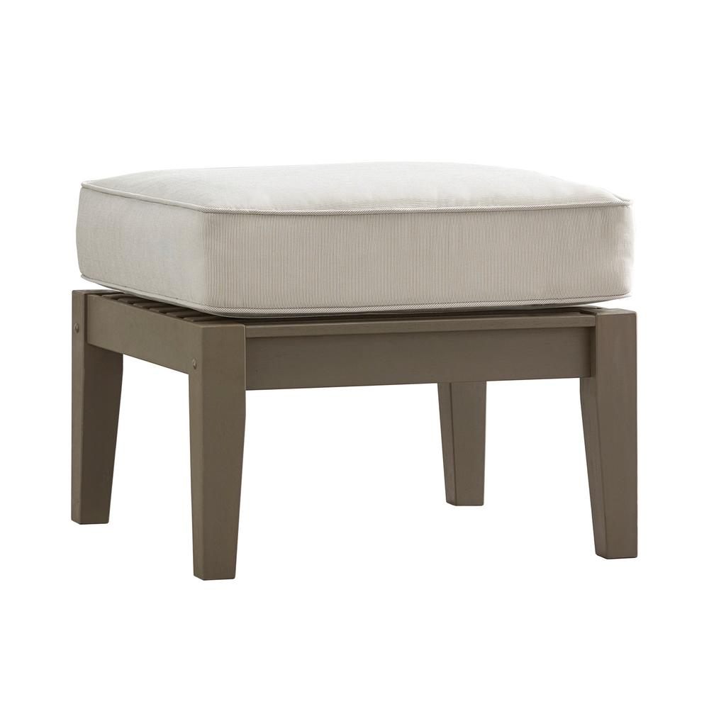 Verdon Gorge Gray Oiled Wood Outdoor Ottoman with Beige Cushion