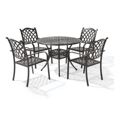 Classic Dark Brown 5-Piece Cast Aluminum Outdoor Dining Set with Round Table and Stackable Dining Chairs