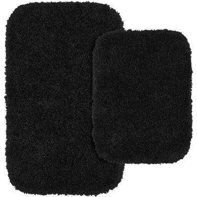 Serendipity Black 21 in. x 34 in. Washable Bathroom 2-Piece Rug Set