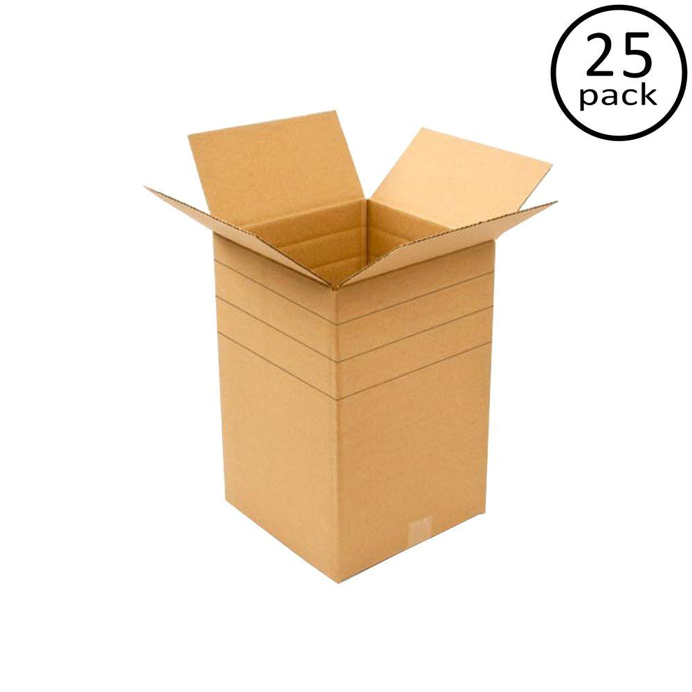 Plain Brown Box 12 in. x 12 in. x 18 in. Multi-depth 25-Box Bundle