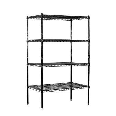 36 in. W x 63 in. H x 18 in. D Galvanized Stationary Wire Shelving Unit in Black