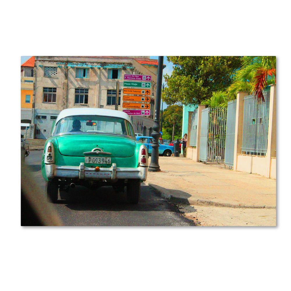 "22 in. x 32 in. ""American Car in Havana"" by Masters Fine Art Printed Canvas Wall Art"