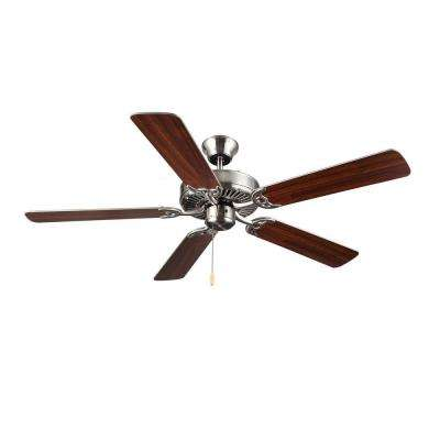 HomeBuilder I 52 in. Brushed Steel Silver Ceiling Fan