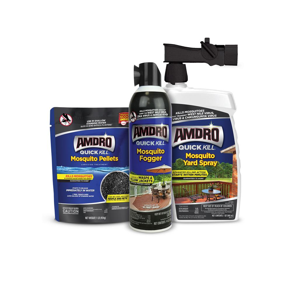 Quick Kill Mosquito Pellets, Fogger and Yard Spray Bundle