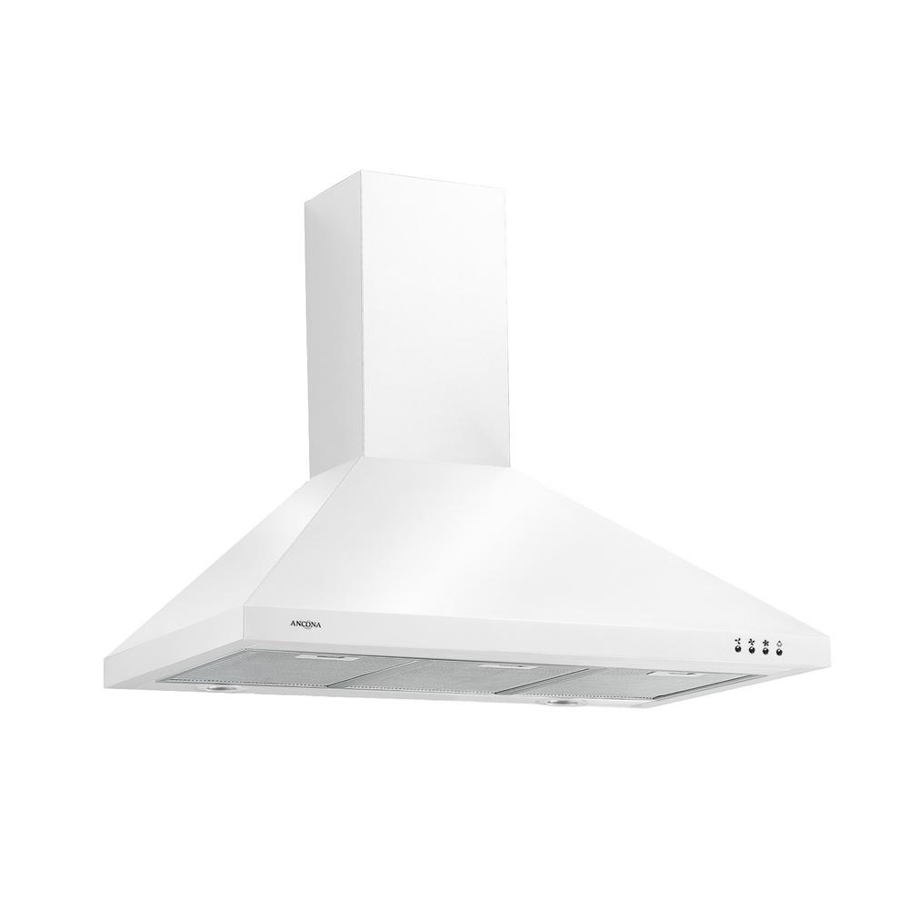 Ancona 36 in. Wall-mounted Convertible Range Hood in White
