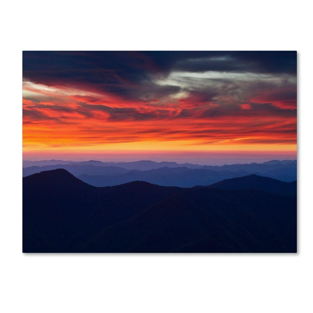 30 in. x 47 in. Mount Mitchell Sunset Canvas Art