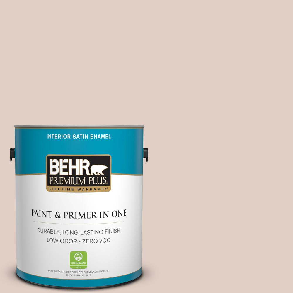BEHR Premium Plus 1-gal. #ICC-94 Brioche Zero VOC Satin Enamel Interior Paint