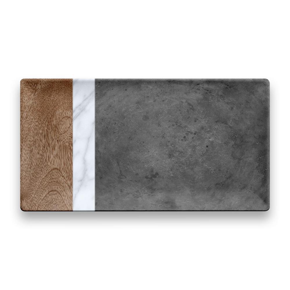 Mixed Material Melamine Marin, Carrara and Stone Plank Platter