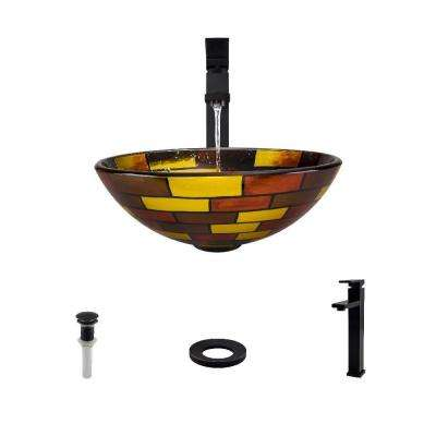 Glass Vessel Sink in Stained Glass with 721 Faucet and Pop-Up Drain in Antique Bronze