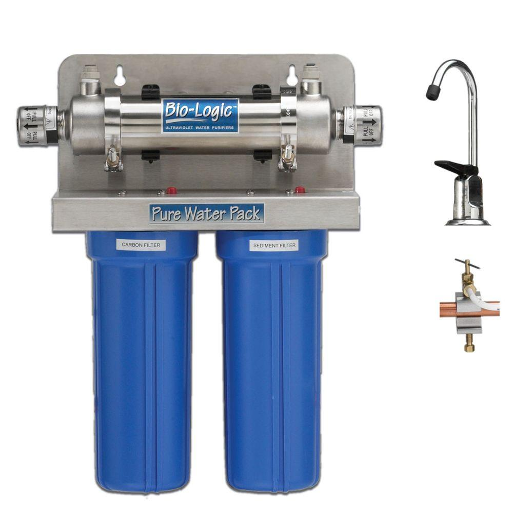 Atlantic Ultraviolet Corporation 1.5 GPM Stainless Steel Germicidal Ultraviolet Water Purifier System with Both a Sediment and Carbon Filter