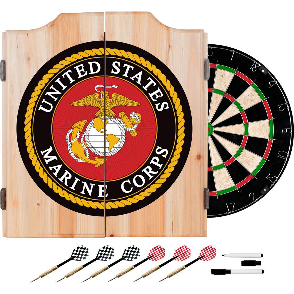 United States Marine Corps Wood Finish Dart Cabinet Set