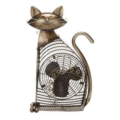17.5 in. Cat Shaped Decorative Figurine Fan