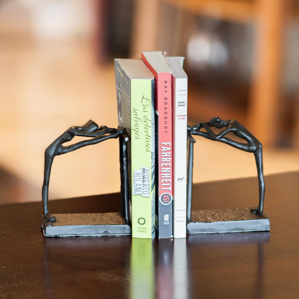 Ballerina Stretch Dark Brown Cast Iron Bookends (Set of 2)