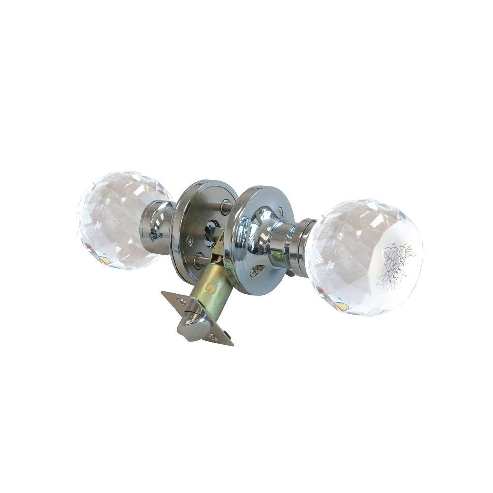 Krystal Touch of NY Love Rose Crystal Chrome Privacy Door Knob with LED Mixing Lighting Touch Activated