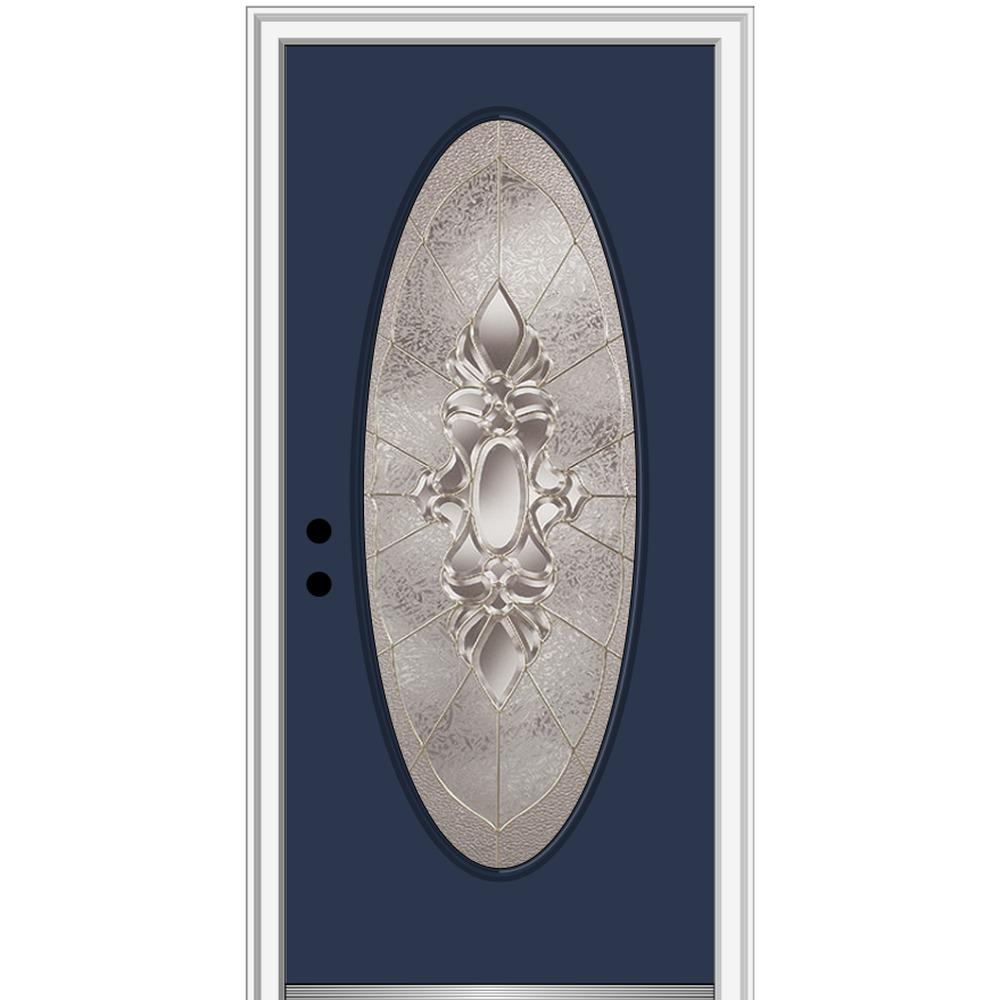 MMI Door 32 in. x 80 in. Heirlooms Right-Hand Inswing Oval Lite Decorative Painted Steel Prehung Front Door on 4-9/16 in. Frame