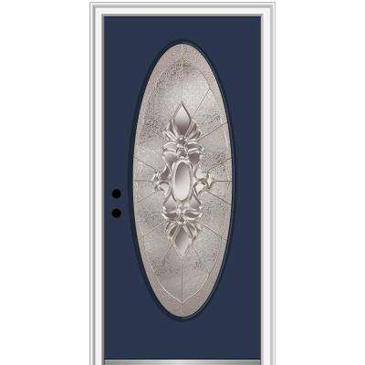 30 in. x 80 in. Heirlooms Right-Hand Inswing Oval Lite Decorative Painted Steel Prehung Front Door on 4-9/16 in. Frame