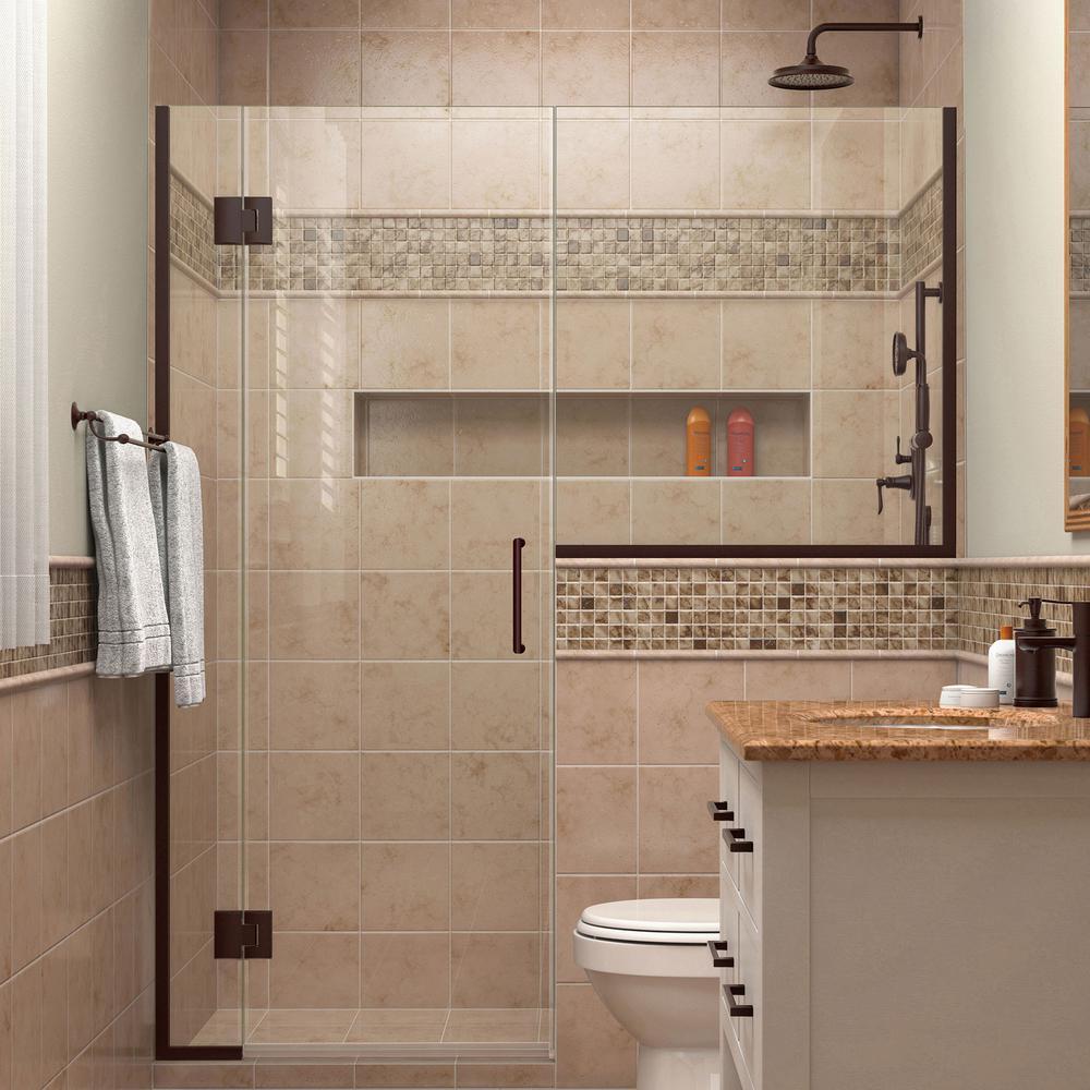 Unidoor-X 55 in. to 55-1/2 in. x 72 in. Frameless Pivot Shower Door in Oil Rubbed Bronze with Buttress Panel